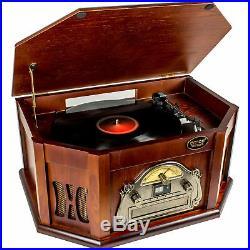 AMOS Vintage Wooden Turntable Retro Vinyl CD Record Cassette USB MP3 Player