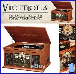 Bluetooth Turntable Retro Vintage Radio CD Cassette MP3 Record Player Vinyl LP