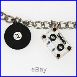 CHANEL CC Cassette Tape Record Bracelet Silver Vintage 04 P Italy Auth #Z227 M