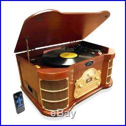 New PTCD54UB Bluetooth Vintage Turntable & CD Cassette USB Recording AM/FM Radio