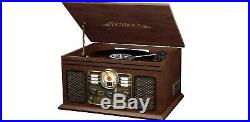 Retro Vintage Radio CD Cassette Bluetooth Turntable Vinyl Record Player ESPRESSO