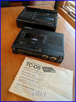 SONY TC-D5 VINTAGE Portable Cassette Recorder. W case and Manuel