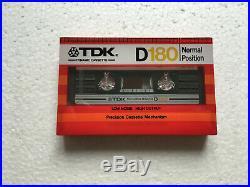 TDK D 180 vintage audio cassette blank tape sealed Made in Japan Type I