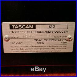 Vtg TASCAM 122 Professional 3 Head Rack Mount Cassette Tape Deck Recorder Japan